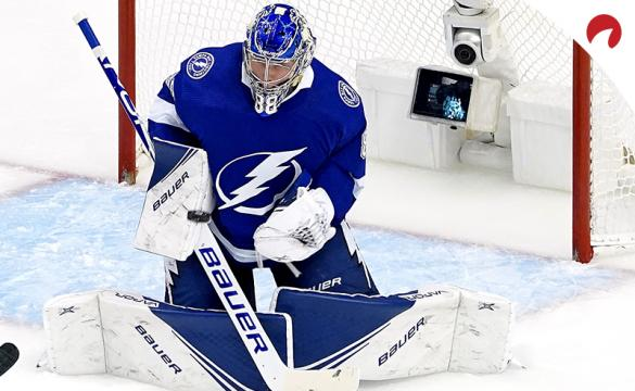 Andrei Vasilevskiy making a save against the Washington Capitals