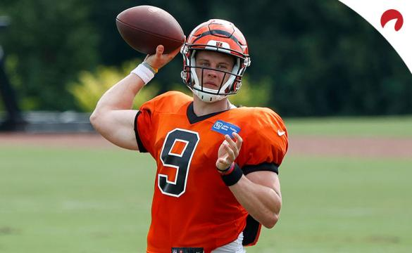 Joe Burrow #9 of the Cincinnati Bengals in action during training camp workouts at the practice field outside Paul Brown Stadium on August 26, 2020 in Cincinnati, Ohio.