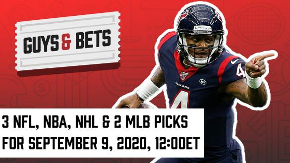 Odds Shark Guys & Bets Joe Osborne Iain MacMillan NFL Betting Odds Tips Picks Predictions Deshaun Watson MLB NHL NBA