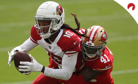 Arizona Cardinals wide receiver DeAndre Hopkins catches a pass against San Francisco 49ers cornerback Emmanuel Moseley during an NFL football game on Sunday, Sept. 13, 2020.