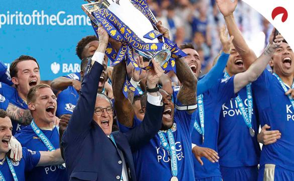 Leicester City team lifting EPL trophy marks one of the Biggest Upsets in Sports Betting History.
