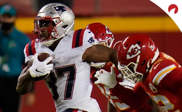 New England Patriots running back Damien Harris (37) runs the ball against the Kansas City Chiefs during an NFL football game, Monday, Oct. 5, 2020, in Kansas City.