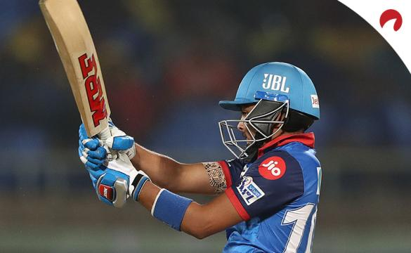 Prithvi Shaw of the Delhi Capitals bats during the Indian Premier League IPL Qualifier Final match between the Delhi Capitals and the Chennai Super Kings at ACA-VDCA Stadium on May 10, 2019 in Visakhapatnam, India.