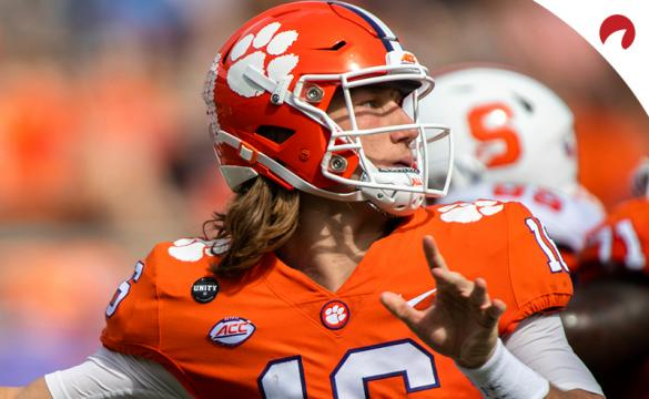 Clemson quarterback Trevor Lawrence completing a pass against Syracuse