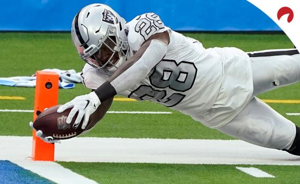 Las Vegas Raiders running back Josh Jacobs scores a touchdown during an NFL football game against the Los Angeles Chargers on Sunday, Nov. 8, 2020, in Inglewood, Calif.