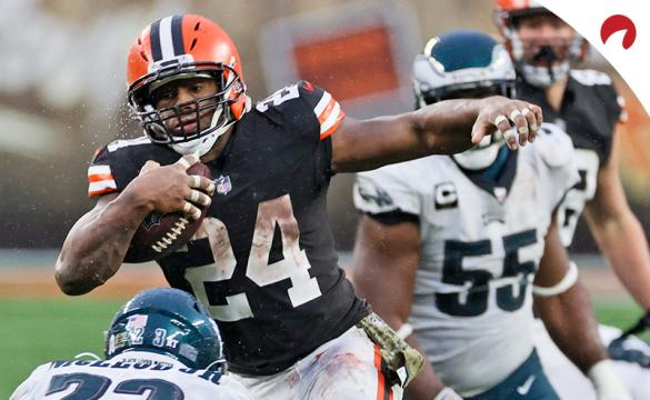 Cleveland Browns running back Nick Chubb (24) rushes during an NFL football game against the Philadelphia Eagles on Sunday, Nov. 22, 2020, in Cleveland.