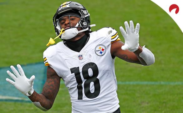 Pittsburgh Steelers wide receiver Diontae Johnson celebrates after scoring a touchdown against the Tennessee Titans in an NFL football game Sunday, Oct. 25, 2020, in Nashville, Tenn.