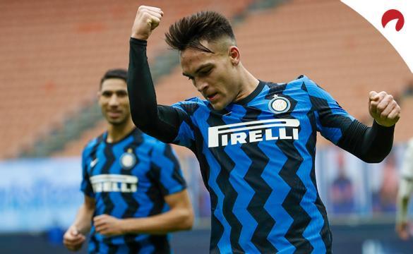Lautaro Martínez celebra un gol con el Inter antes de enfrentarse a la Juventus