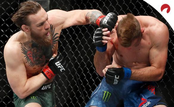 Conor McGregor (left) knocks out Donald Cerrone and McGregor vs Poirier Prop Bets favor a stoppage