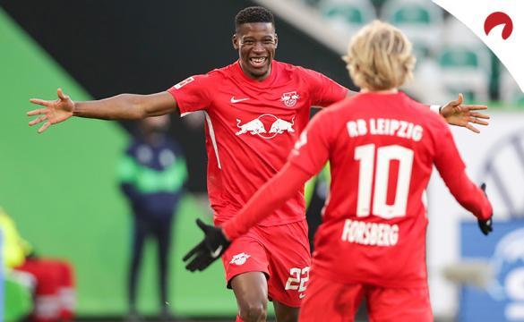 Nordi Mukiele celebra un gol en un partido. Encuentra las cuotas para el próximo RB Leipzig Vs Union Berlin