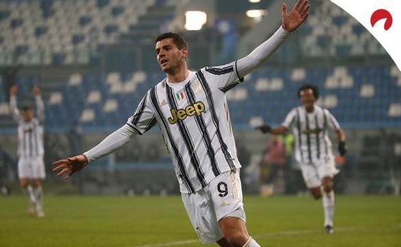 Morata celebra un gol en un partido previo al próximo Juventus Vs Bolonia