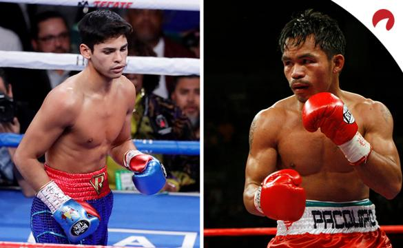 Manny Pacquiao (right) is favored over Ryan Garcia (left) in the Pacquaio vs Garcia odds