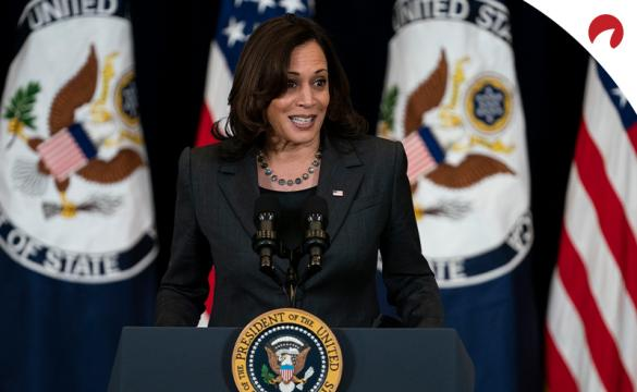 Kamala Harris, who leads the 2024 U.S. presidential election odds, gives a speech at the White House.