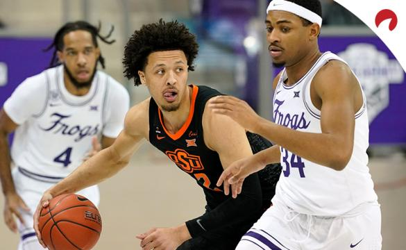 Cade Cunningham and the Oklahoma State Cowboys are small betting underdogs in NCAAB odds at Kansas on Monday night.