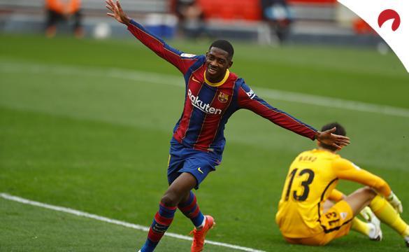 Ousmane Dembélé celebra un gol anotado frente al Sevilla. Conoce las cuotas del Barcelona Vs Sevilla de la Copa del Rey.