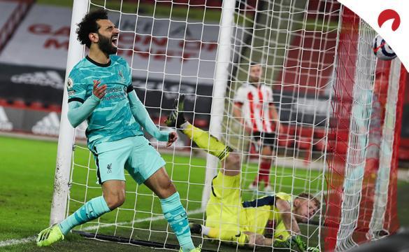 Mohamed Salah se lamenta tras fallar una ocasión. Conoce las cuotas para el próximo Liverpool Vs Chelsea de la Premier.
