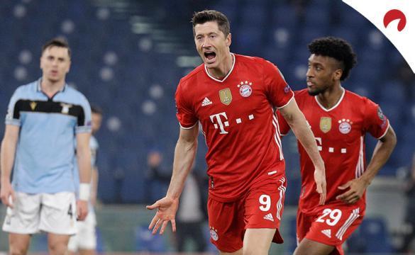 Robert Lewandowski celebra un gol. Conoce las cuotas para el próximo Bayern Múnich vs Borussia Dortmund y nuestros picks