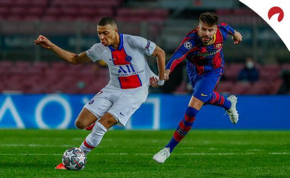 Kylian Mbappé se escapa de Piqué. Encuentra las cuotas y los pronósticos para el PSG Vs Barcelona de la Champions League