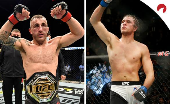 Alexander Volkanovski (left) is favored in the Volkanovski vs Ortega odds.