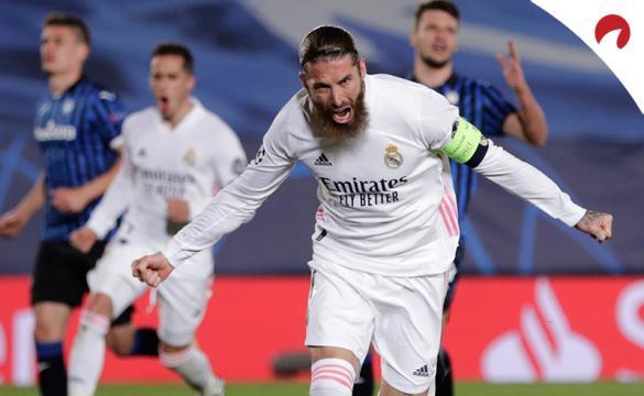 Sergio Ramos celebra un gol ante el Atalanta. Conoce los pronósticos y cuotas del Celta Vs Real Madrid de LaLiga.