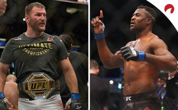 Francis Ngannou (right) is the favorite in the UFC 260 odds for Miocic vs Ngannou