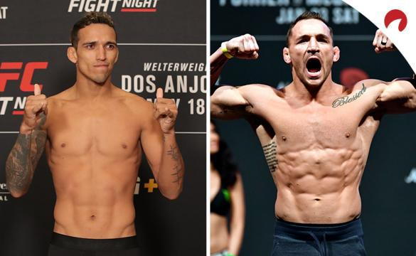 Charles Oliveira (left) is favored in the Oliveira vs Chandler odds.