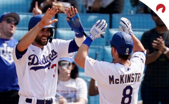 World Series 2021 Betting Odds Los Angeles Dodgers celebrating an early-season win.
