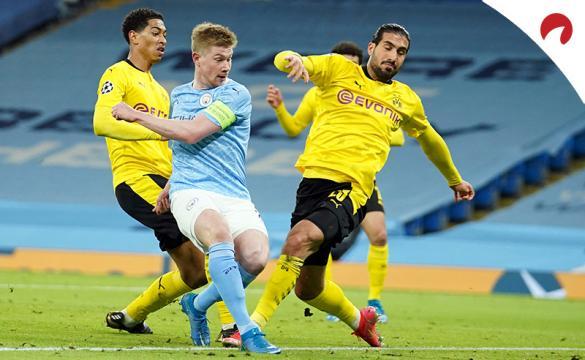 De Bruyne dispara entre defensas del Dortmund. Pronósticos del Borussia Dortmund Vs Manchester City