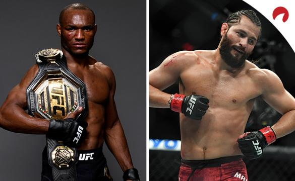 Kamaru Usman (left) is favored in the UFC 261: Usman vs Masvidal 2 odds.