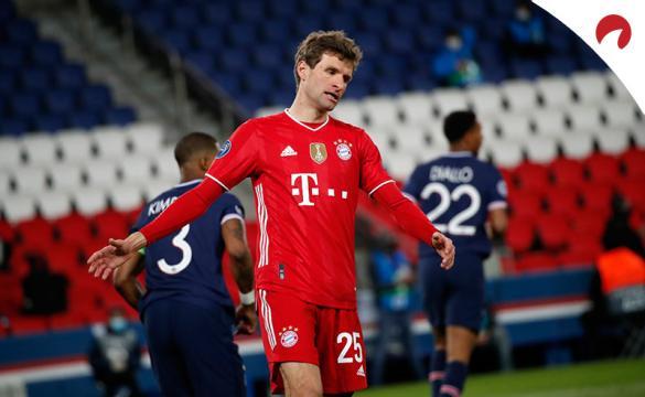 Thomas Müller lamenta una ocasión fallada. Conoce las cuotas del Wolfsburgo Vs Bayern Múnich