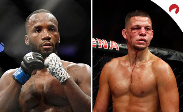 Leon Edwards (left) is favored in the Edwards vs Diaz odds at UFC 262.