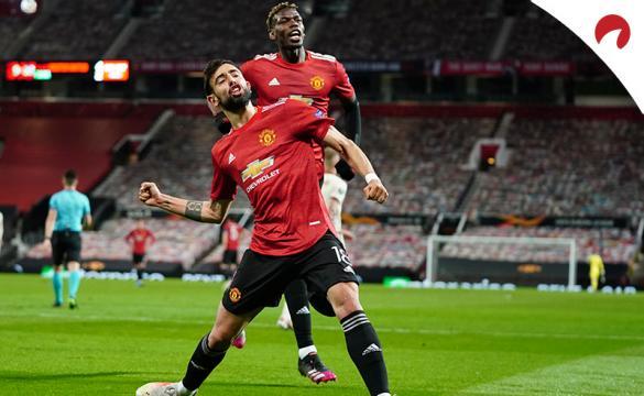 Bruno Fernandes celebra un gol seguido de Pogba. Conoce las cuotas del Manchester United Vs Liverpool