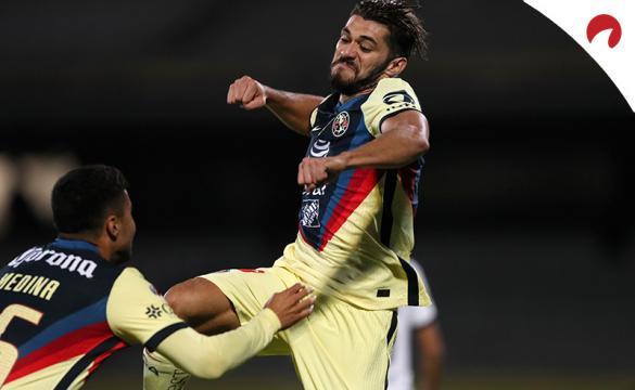 Henry Martin celebra eufórico un gol. Encuentra los pronósticos para la ida de los Cuartos de Final del Guard1anes 2021.