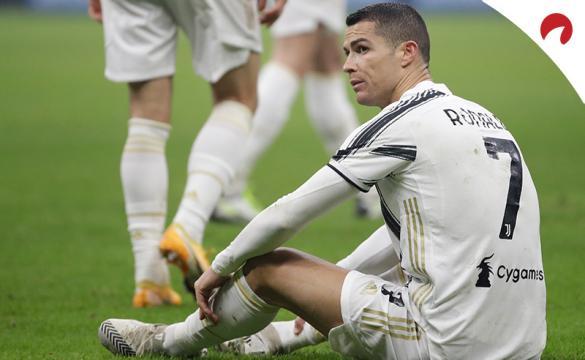 Cristiano Ronaldo se lamenta sentado en el suelo. Conoce los pronósticos del Juventus Vs Inter.