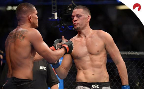Nate Diaz (right) shakes Anthony Pettis' hand.