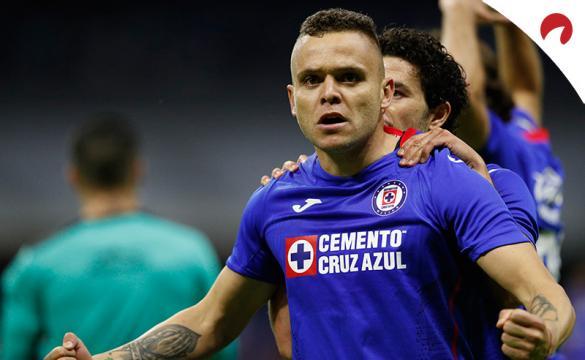 Jonathan Rodriguez celebra un gol. Encuentra los pronósticos para la ida de las semifinales del Guard1anes 2021.