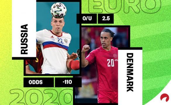 Denmark is the favorite in the Russia vs Denmark Euro 2020 odds.