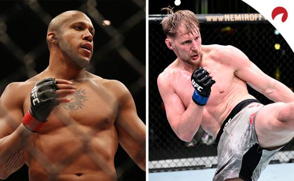Ciryl Gane (left) is favored in the Gane vs Volkov (right) odds for this week's UFC Fight Night: Gane vs Volkov.