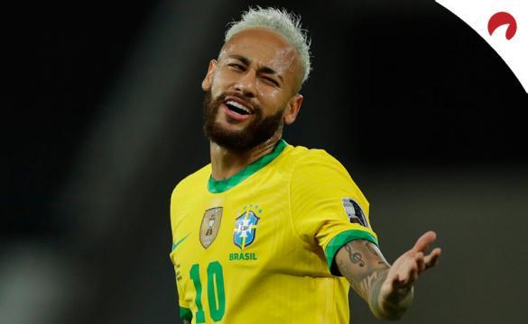Neymar protesta una jugada en la Copa América 2021. Conoce los pronósticos del Brasil vs Colombia