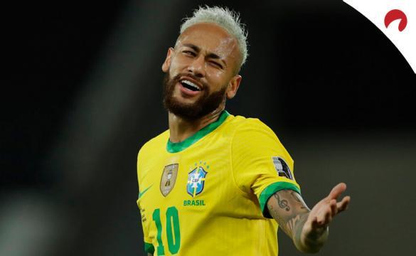 Neymar Jr se lamenta en un partido de la Copa América 2021. Conoce los pronósticos del Brasil vs Perú.