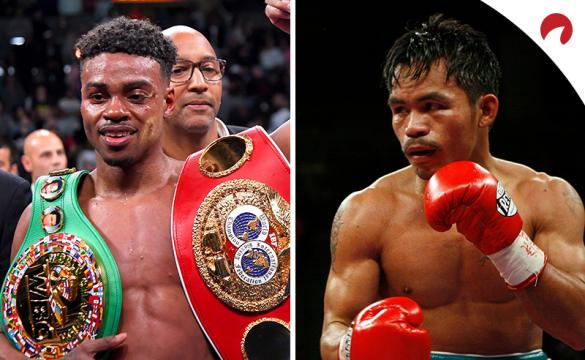 Errol Spence (left) is favored in the Spence vs Pacquiao odds.