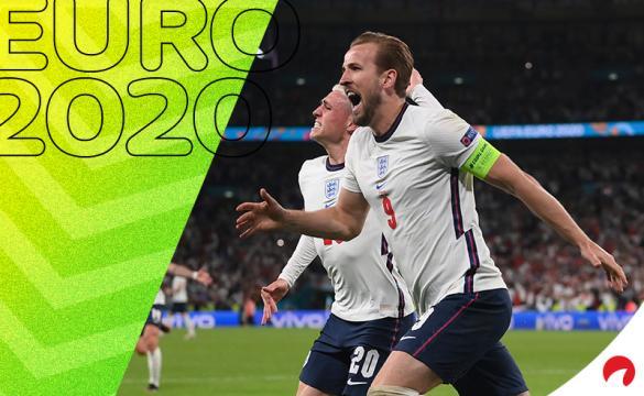 Harry Kane celebra el gol que da a Inglaterra el pase a la final de la Euro 2020 para el próximo Italia vs Inglaterra.