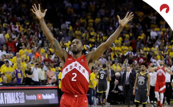 Kawhi Leonard celebrates in the NBA Finals.