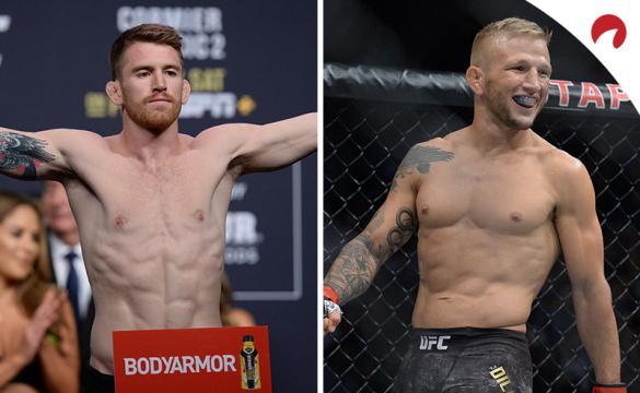 Cory Sandhagen (izq) es favorito en las cuotas de las casas de apuestas para el UFC Fight Night: Sandhagen vs Dillashaw.