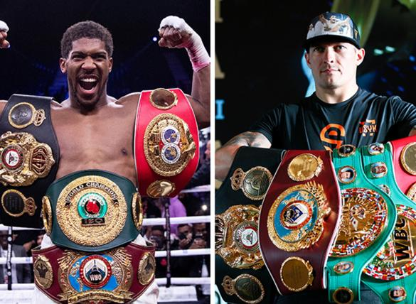 Anthony Joshua (left) is favored in the Joshua vs Usyk (right) odds.