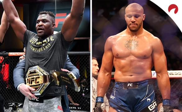 Francis Ngannou (left) and Ciryl Gane (right) are set as a pick 'em in the Ngannou vs Gane odds.
