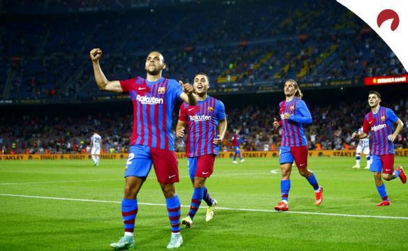 Martin Braithwaite celebra un gol mirando a la grada. Cuotas y picks Athletic Bilbao vs Barcelona.