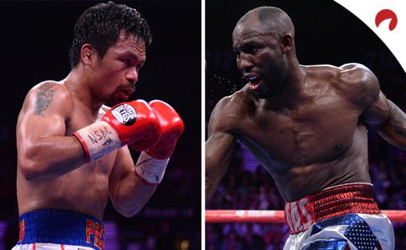 Manny Pacquiao (left) is favored in the Pacquiao vs Ugas (right) odds.