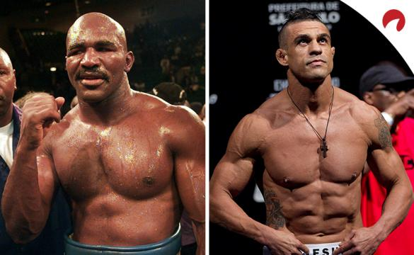 Evander Holyfield (left) is the underdog in the Holyfield vs Belfort (right) odds.