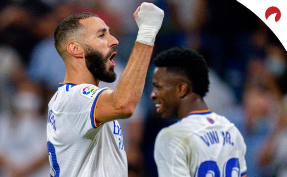 Benzema celebra un gol su último partido de LaLiga. Conoce las cuotas y pronósticos del Inter Vs Real Madrid.